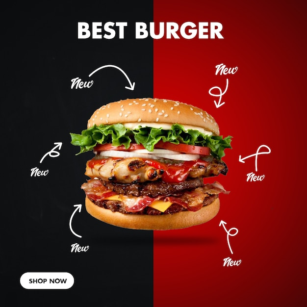 Burger square banner for social media Premium Psd