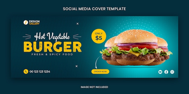 Burger web and social media fast food restaurant cover banner template Premium Psd