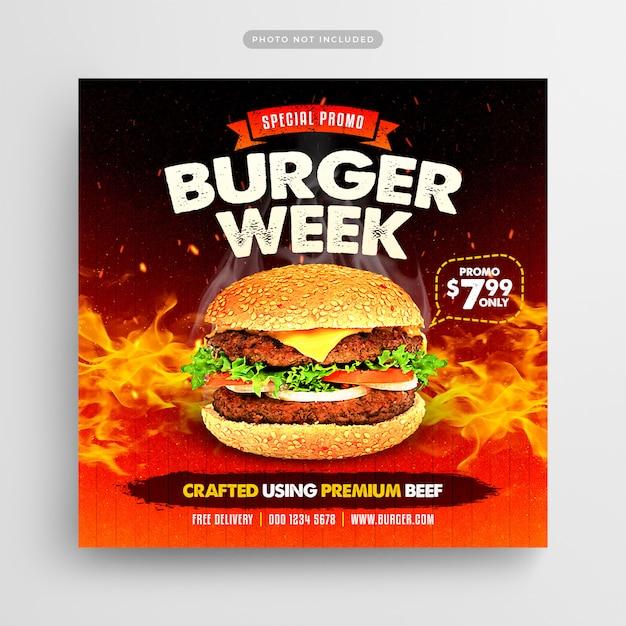 Burger week social media post and web banner Premium Psd
