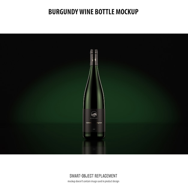 Burgundy wine bottle mockup Free Psd