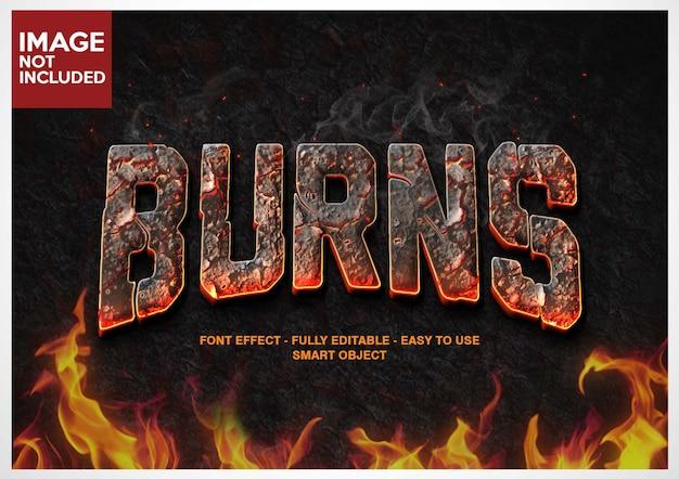 Сжигать огонь шрифта эффект редактируемые слои Premium Psd