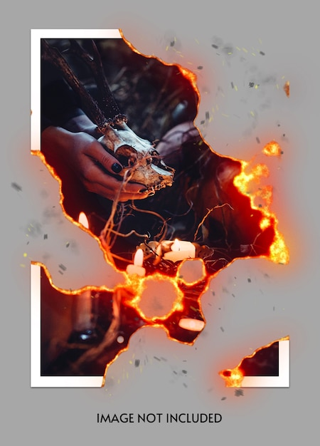 Burning photo mockup Premium Psd