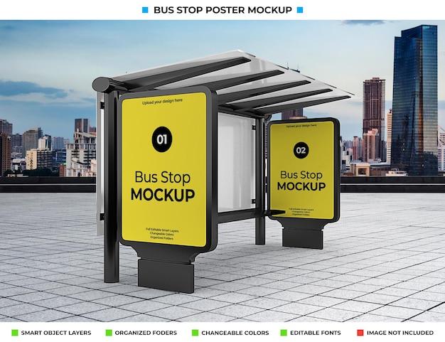 도시 거리에 고립 된 버스 정류장 광고 모형 프리미엄 PSD 파일