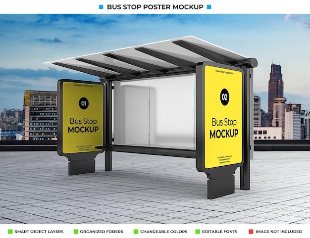도시 거리에 버스 정류장 광고 모형 프리미엄 PSD 파일