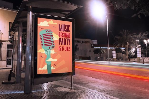 Bus stop billboard mockup Free Psd