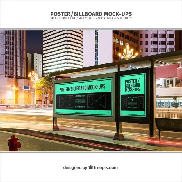 bus stop billboards mockup psd file