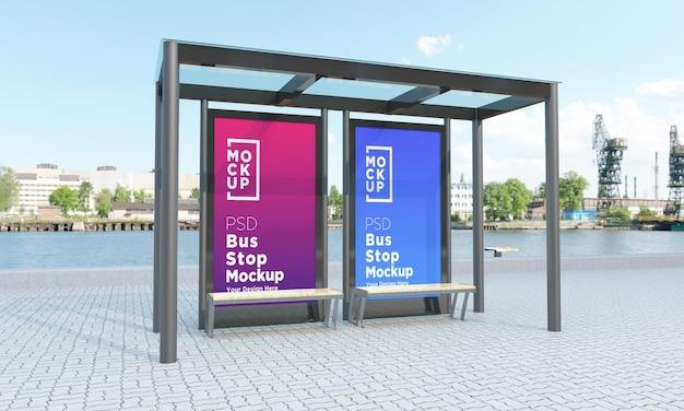 バス停バスシェルター2つの標識モックアップ3dレンダリング Premium Psd