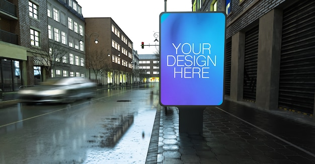 Bus stop mockup on rainy street in the city Premium Psd