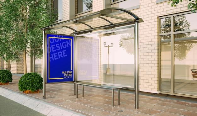 Bus stop poster fashion sale mockup 3d rendering Premium Psd