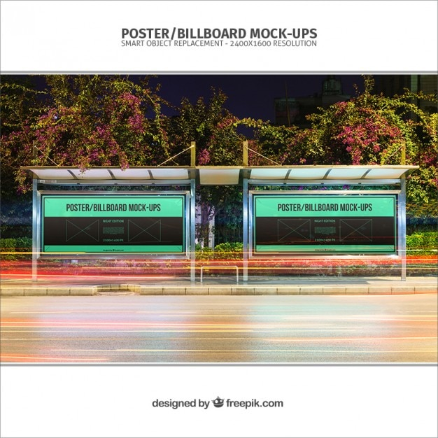 Bus Stop Posters Mockup Psd File Free Download