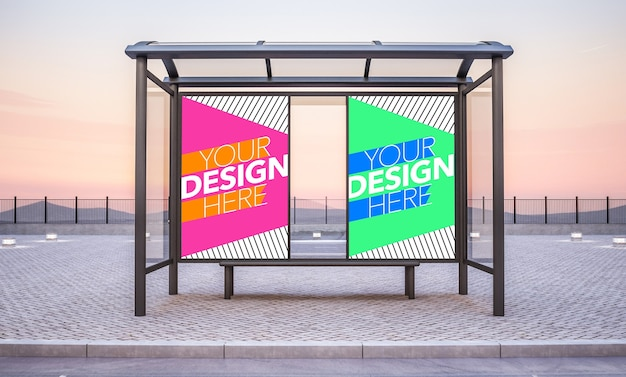 Bus stop with two poster mock up Premium Psd