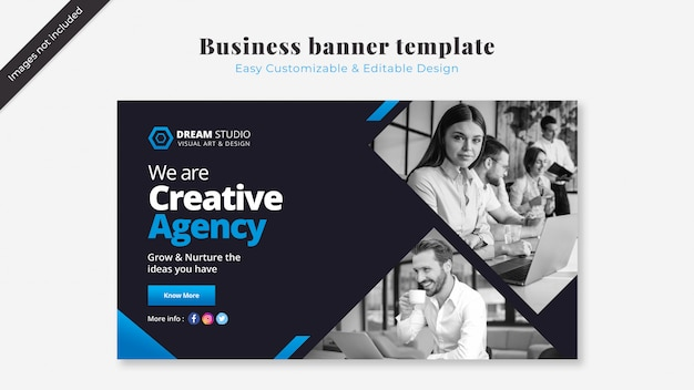 Business banner template with blue details Free Psd