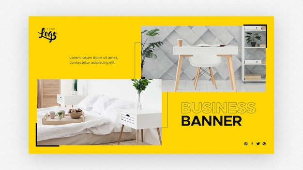 Business banner template with desk and bed Free Psd