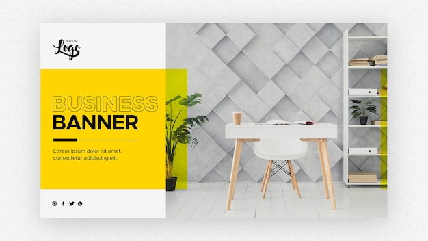 Business banner template with living room and work space Free Psd