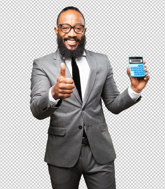 Business black man holding calculator Premium Psd