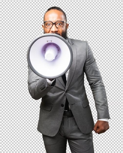 Business black man holding a megaphone Premium Psd