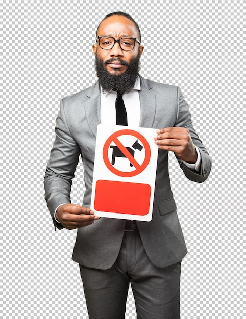 Business black man holding a prohibited dogs banner Premium Psd