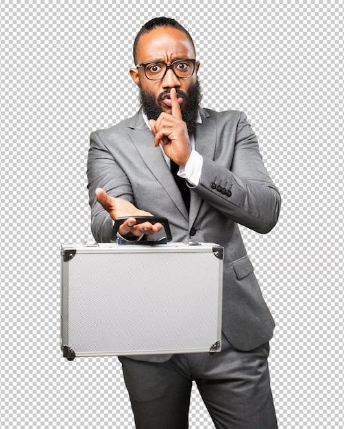 Business black man holding a suitcase Premium Psd