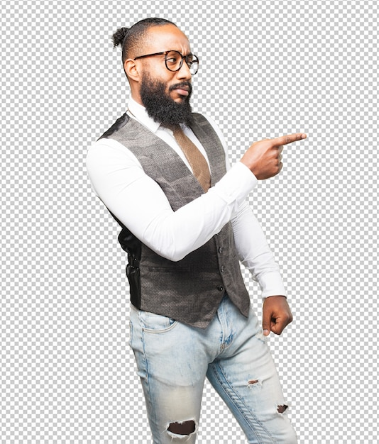 Business black man pointing with finger Premium Psd