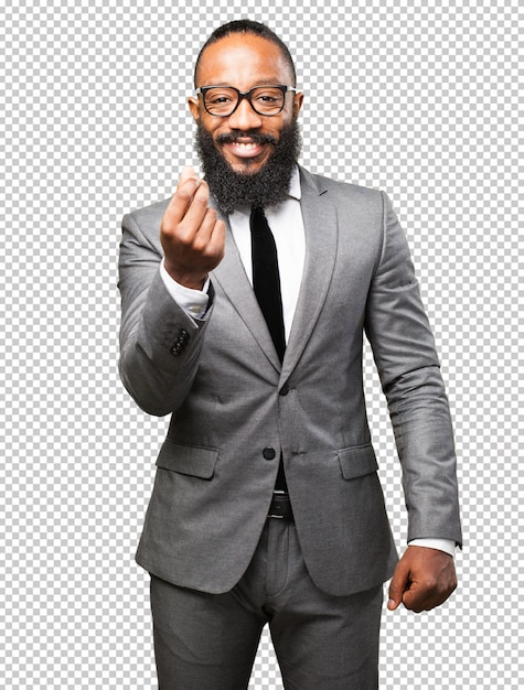 Business black man rich gesture Premium Psd