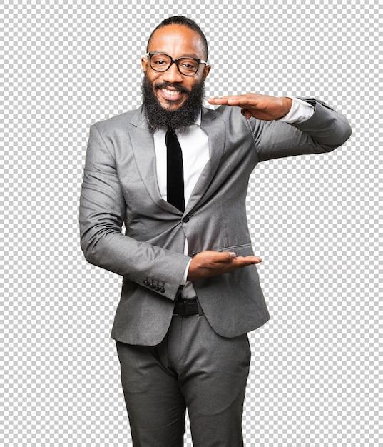 製品を示すビジネス黒人男性 Premium Psd