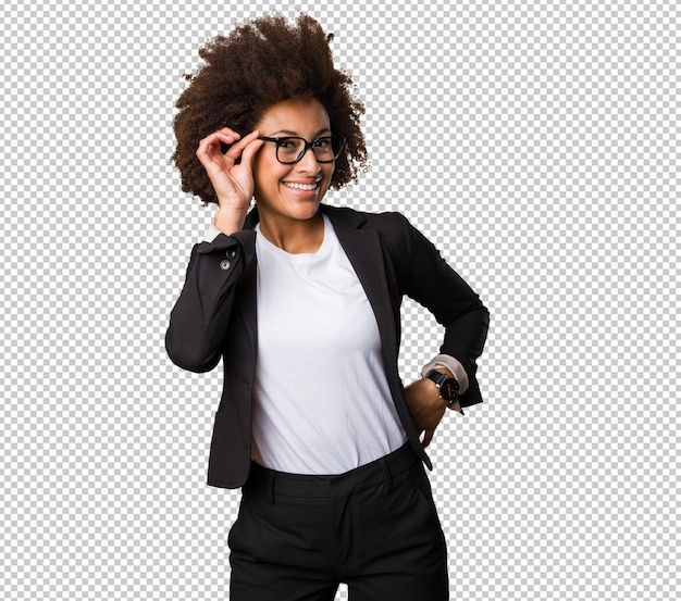 Business black woman putting on her glasses Premium Psd