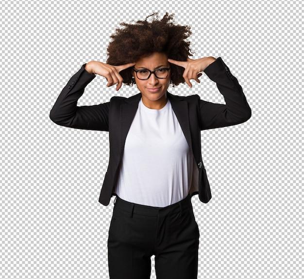 Business black woman thinking Premium Psd