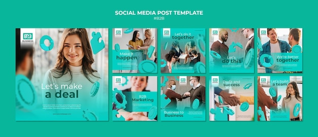Business to business instagram posts template Premium Psd