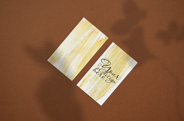 Business card 3.5x2 inch mockup on brown background Premium Psd