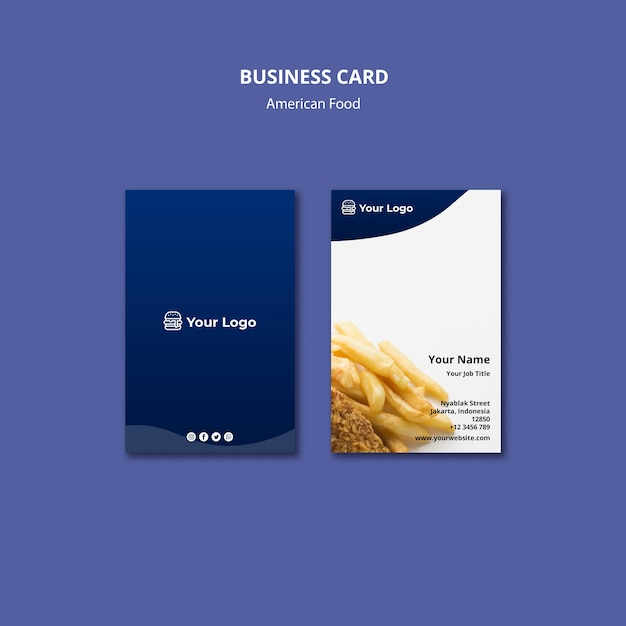 Business card for american food restaurant Free Psd