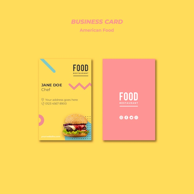 Business card for american food with burger Free Psd