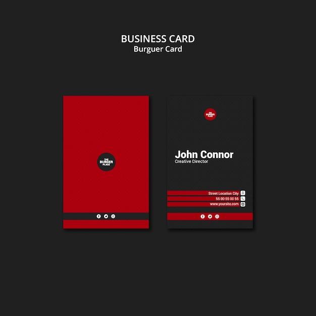 Business card for burger restaurant Free Psd
