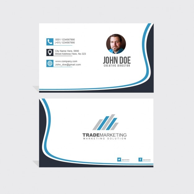 Business card decorated with wavy shapes Free Psd