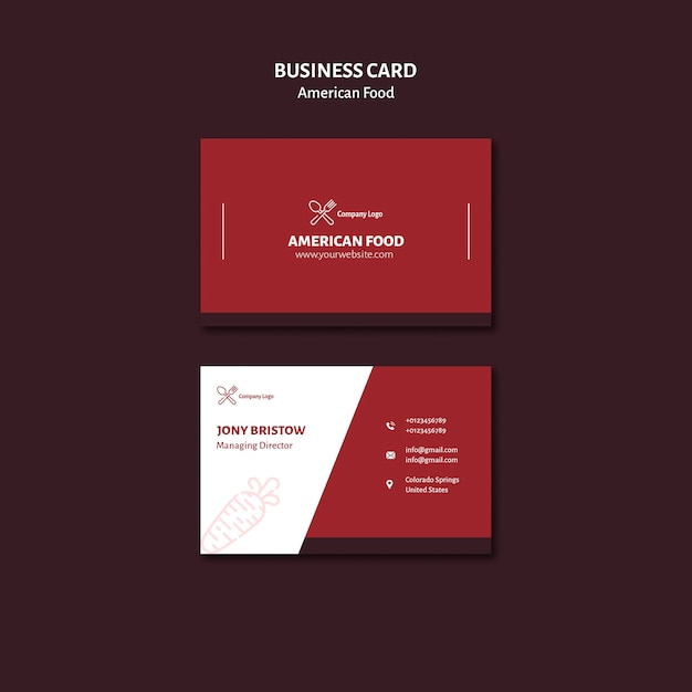 Business card design american food Free Psd
