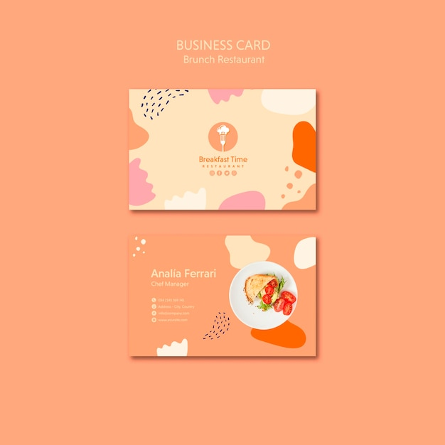 Business card design for chef manager Free Psd
