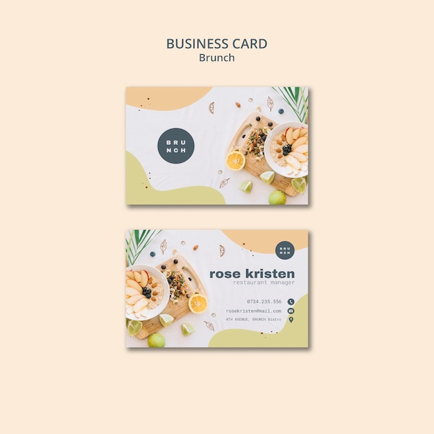 Business card design for delicious brunch Free Psd