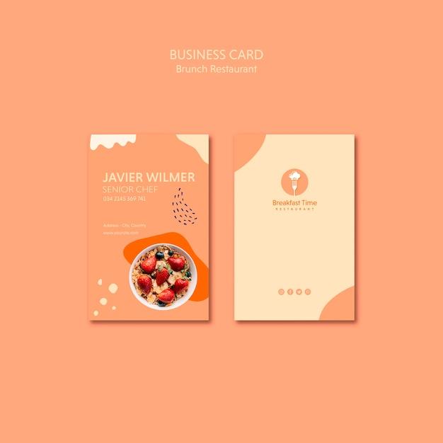 Business card design for senior chef Free Psd