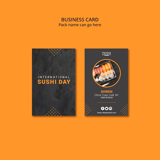 Business card for international sushi day Free Psd