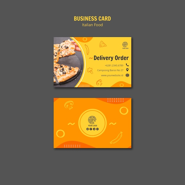 Business card for italian food bistro Free Psd