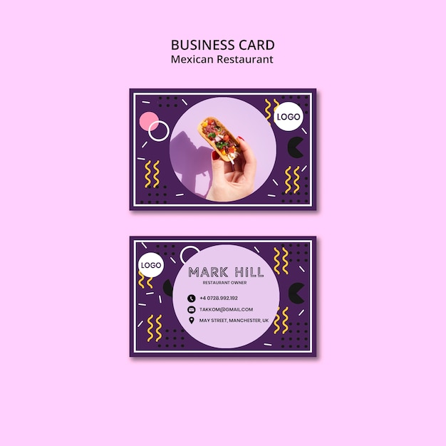 Business card mexican food restaurant Free Psd