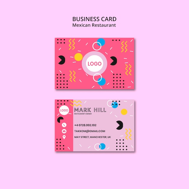 Business card mexican food Free Psd