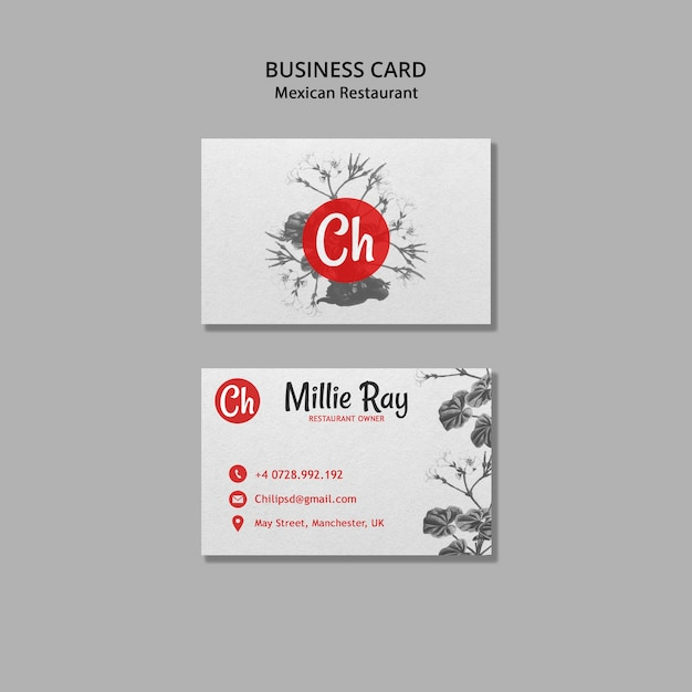 Business card for mexican restaurant Free Psd