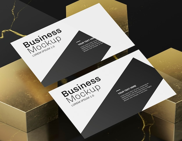 Business card mock-up on golden background Free Psd