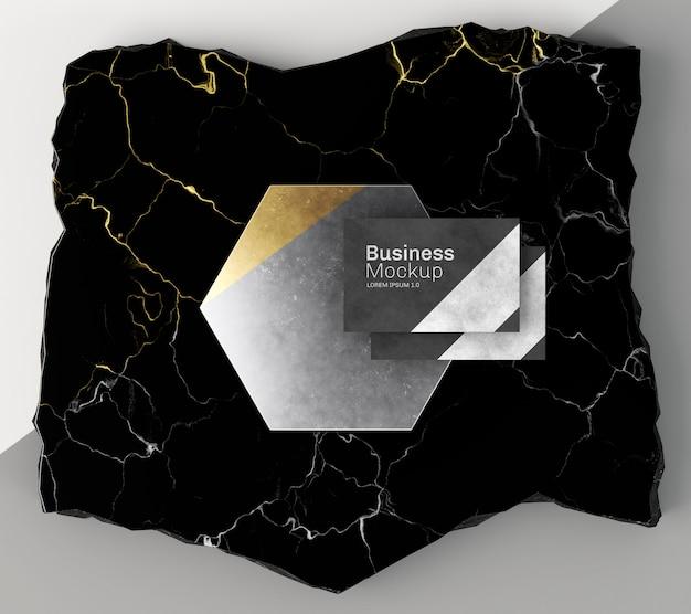 Макет визитной карточки на мраморном виде сверху Premium Psd