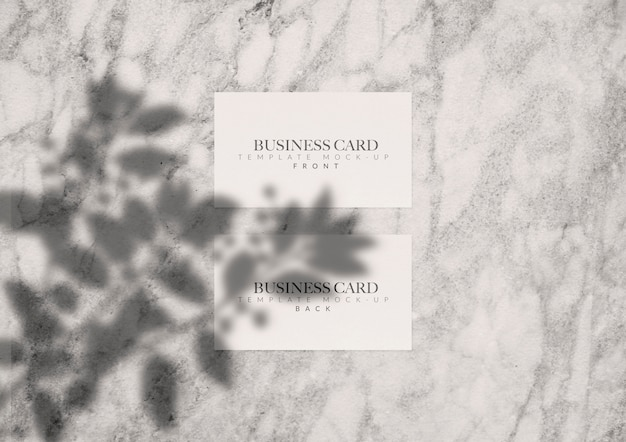 Business card mock-up wit shadow Free Psd