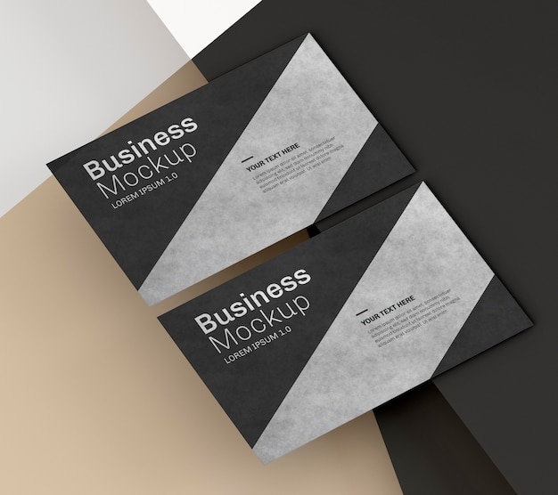 Business card mock-up with black and silver design Premium Psd