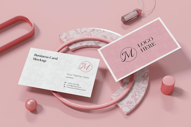 Business card mockup design in 3d rendering Premium Psd
