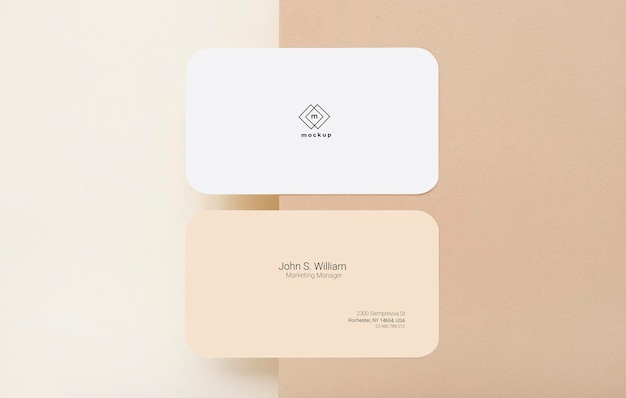 Business card mockup, front and back side, flat lay Free Psd