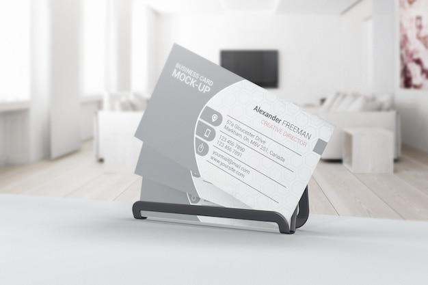 Business card mockup in interior of room Premium Psd