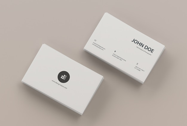 Business card mockup of two stacks Premium Psd